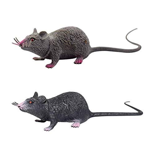 2ST Realistische Maus Mäuseratten-Spielzeug Prank Creepy Toy Party Supplies (Schwarz und Grau) zcaqtajro