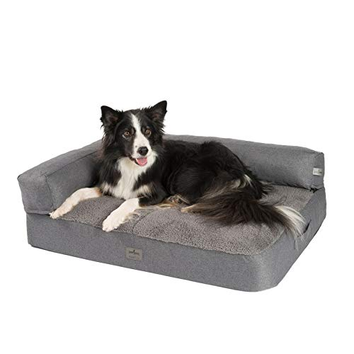 JAMAXX Premium 2-in-1 Hunde-Sofa - Orthopädisch Memory Visco, Abnehmbare Polster, Abnehmbarer Bezug Waschbar, Weiches Fleece oder Lammfell/Sherpa, PDB3014 (M) 90x70 grau+grau Fleece