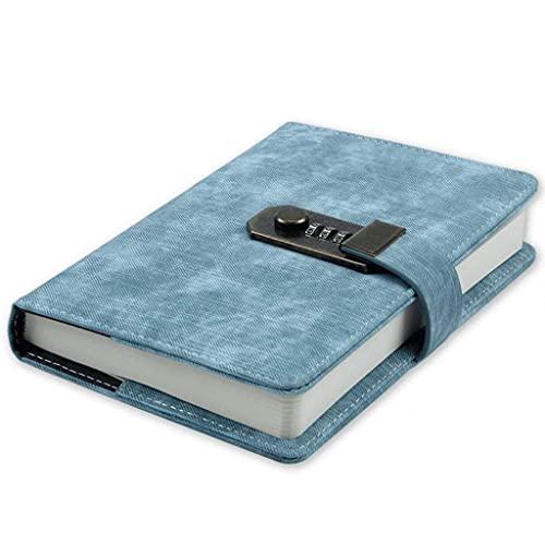 Retro contraseña Cuaderno Classic Journal con Cerradura de combinación Diario de Cuero Diario,Cuaderno,Notepad Estudiante Grueso Libro de Mano (Color : B)