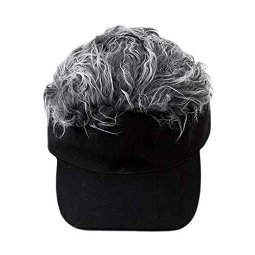 Adjustable Baseball Hat Toupee Wig Hat Funny Golf Caps Novelty Baseball Cap for Women and Men … (Grey)