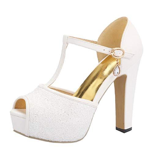 LUXMAX Donna Cinturino a T Scarpe Sandali Plateau Tacco Alto Glitter Sandalo Tacco Largo Tacchi Alti 12 CM (Bianco) - 36 EU