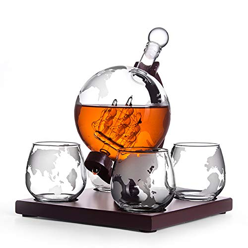 CXD Whiskey karaf Globe Met vier glazen whisky, whisky karaf set Vodka Globe karaf drankdispenser met houten standaard voor Whiskey Bourbon