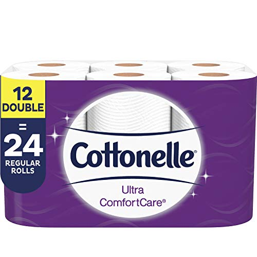 Cottonelle Toilet Paper, 24 Double Rolls (Equal to 48 Regular Rolls), 2-ply, Ultra ComfortCare, Soft Bath Tissue, Biodegradable, Septic safe