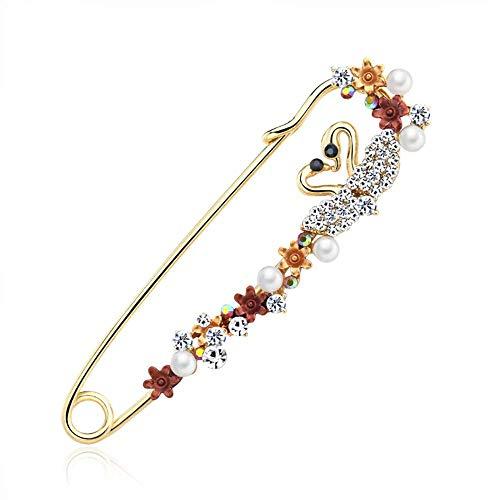 Broche de las mujeres esmalte cristal cisne corazón solapa Pin grande broche de seguridad para niñas accesorios de joyería ropa bufandas chal botones traje (rojo)