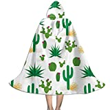 Searster$ Capa con Capucha para niños con diseño de Cactus del Desierto para la Fiesta de Navidad de Halloween, Disfraces de Vampiro Mago Brujo de Cosplay para niños con Sombrero 118x39cm