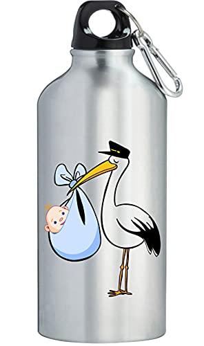 Cicogna con Bambino Compleanno Carino Bottiglia di Acqua In Acciaio Inox Allenamento All'aperto Ciclismo Campeggio A Tenuta Grande Capacità Argento 600ml