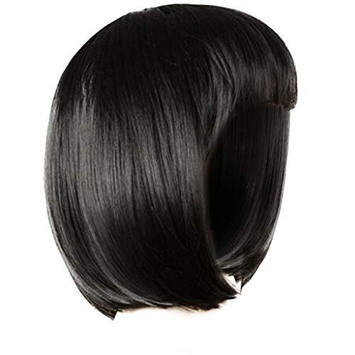 Perruque Naturelle Tout droit Courte JINLILE Dame Fille Wig Femmes Courtes Droites Frange Résille Pleine Perruques De Cheveux Cosplay Party Wig Cheveux Lisses et Raides Noir 35CM