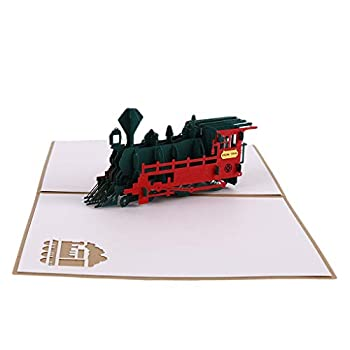 SEVENHOPE 3D Pop Up Greeting Cards Train Happy Birthday Thank You Halloween Christmas Postcard Gift