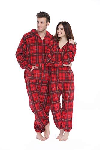 XMASCOMING Women's & Men's Hooded Fleece Onesie Pajamas Red Grey Plaid Size US XXL
