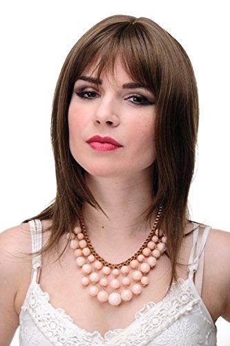 WIG ME UP - Perruque dame longueur épaules brun doré cheveux lisses avec frange env. 50 cm 3003-10