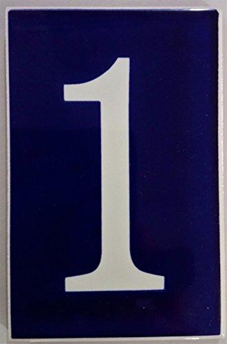 ARTESANÍA ROCA Números de azulejo cerámico Valenciano. Modelo Azul Ibero. Medidas 10cm Alto x 6.5cm Ancho. Muy Decorativo y de Calidad (1)
