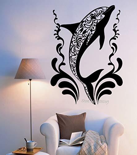 HNXDP Neueste kreative Dolphin Wandaufkleber Vinyl DIY selbstklebende Ozean Ornament Wandbild Aufkleber Aufkleber Wohnzimmer Dekor 56cmX77cm