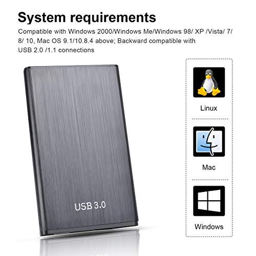 "Disco Duro Externo Portátil 2.5"" 1TB 2TB, USB3.0 SATA HDD Almacenamiento para PC, Mac, MacBook, Chromebook, Xbox (2tb, Rojo) miniatura"