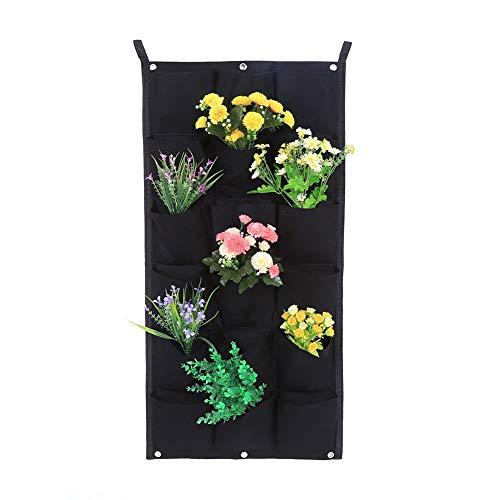 Vertikaler Blumenkasten für den Garten 7/12/16/18 Wandtaschen zum Pflanzen / Beutel für Erde / Wandkörbchen aus Filz, Hängekorb für Innen und Außen, Schwarz 18-Pocket