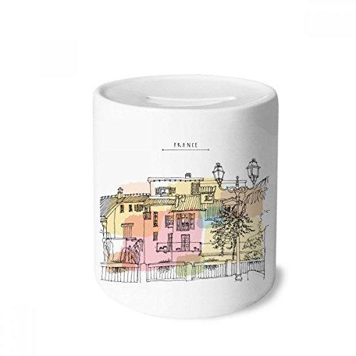 DIYthinker Bunte Stadt France Kunstspardose Sparkassen Keramik Münzfach 3.5 Zoll in Height, 3.1 Zoll in Duruchmesser Mehrfarbig