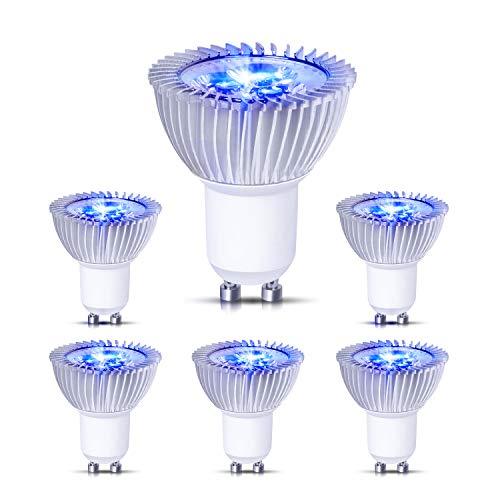Hakkatronics LED Blaue Lampe, 6W LED GU10 Blaue Beleuchtung, 38 °Abstrahlwinkel, 400 Lumen(50w Halogenlampen entsprechen), 240Vac LED Lampe Leuchte GU10, für Hause und öffentlichen Umfeld