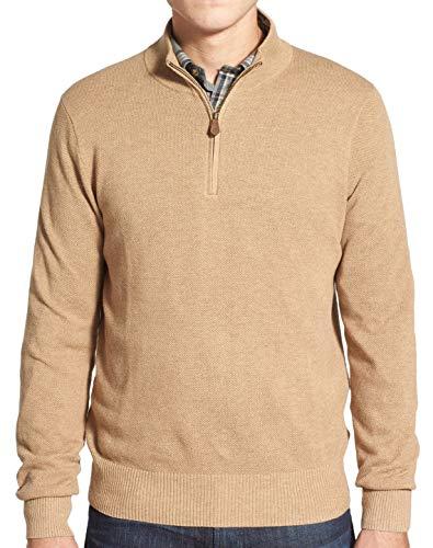 Brooks Brothers Men's Cotton & Cashmere Pique Half Zip Sweater, Beige (S)