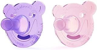 Philips フィリップス AVENT Bear Shape Pacifier おしゃぶり, 0~3ヶ月, 2個セット (ピンク&パープル) [並行輸入品]
