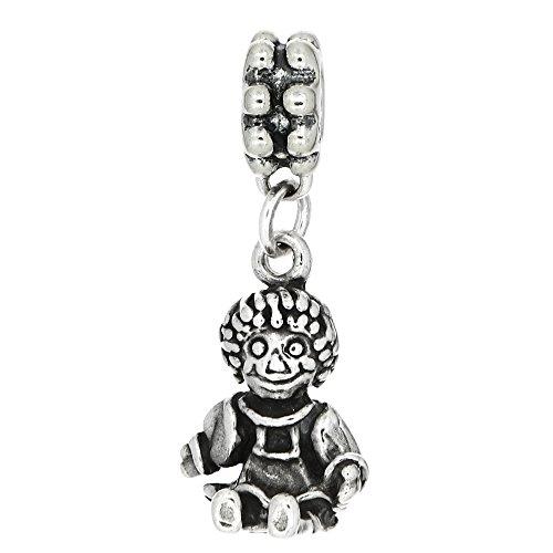 Lgu Sterling Silver Oxidized Raggedy Ann Doll European Dangle Bead Charm