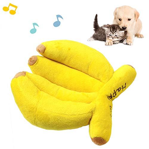 Dyyicun12 hond piepende speelgoed, huisdier hond katten puppy banaan vorm pluche pop piepende geluid kauwen molar spelen Kerstmis Nieuwjaar huisdier cadeau speelgoed, Banana, Geel
