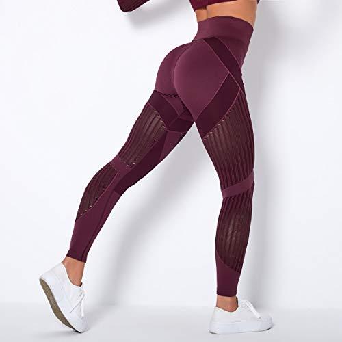 Opprxg Yugo de Malla para Mujer Pantalones de Malla de Gimnasio sin Costuras Pantalones de Yoga Ejercicio Deportivo Pantalones Huecos Leggings de energía de Cintura Alta Deportes Fitness