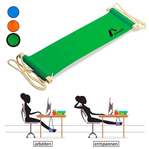 Amazy XXL Fuß Hängematte für breite Tische bis 2,00 m – Höhenverstellbare und extra breite Fußstütze zur Entspannung und Entlastung am Schreibtisch und im Büro (Grün)