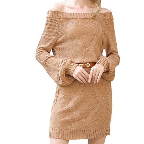 AMUSTER Damen Kleid Damen Strickkleid Stretch Longpulli Pullikleid Damen Fledermaus Ärmel Schulterfrei Strickkleid Sweater Kleid mit Gürtel
