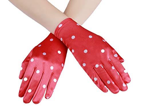 Coucoland Polka Dot Handschuhe Elegant Damen Sommer Handschuhe 1950s Stil Rockabilly Handschuhe Hochzeit Fasching Accessoires (Rot)