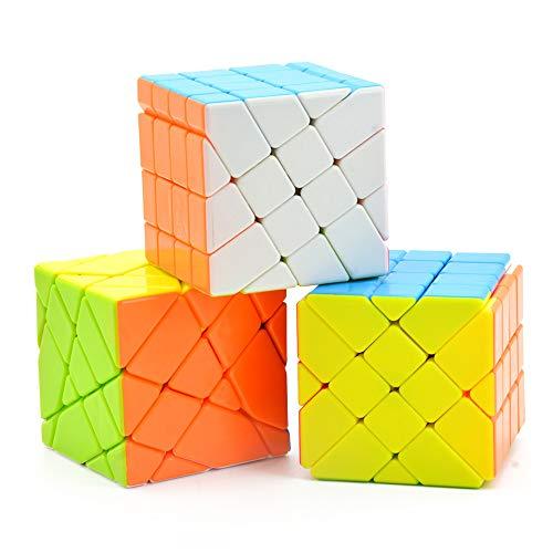 Wings of wind - 4x4x4 Cubo Mágico Irregular de Velocidad YongJun Fisher, Rueda de Viento, Puzzle Kingkong 4x4 Cube (Paquete de 3)