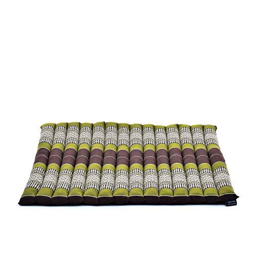 Leewadee Coussin De Méditation Grand Tapis Zabuton Carré pour S'Asseoir Au Sol Produit Naturel Et Écologique, 69x78x4.5 cm, Kapok, Marron Vert