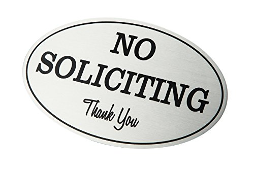 2-Pack No Soliciting Signs - No Trespass Signs, Private Property Signs, No Solicitation Self-Adhesive Oval Aluminum Signs for Office, Business or Home Use, Silver - 7 x 4.4 Inches Photo #2