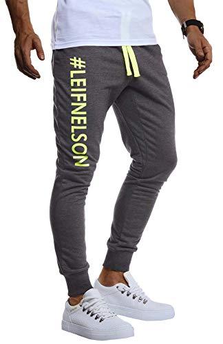 Leif Nelson Herren Trainingshose Sporthose Slim Fit Männer Fitnesshose Jogginghose Lange Fitness-Hose für Sport Training Bodybuilding Jungen Sweatpants Jogging LN8295; M; Anthrazit-Gelb