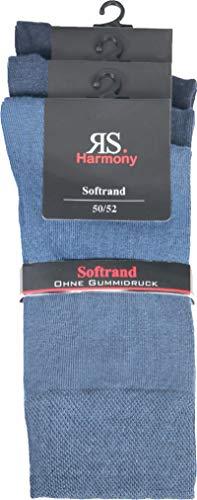 socksPur HERREN SOCKEN Übergrößen ohne Gummidruck - 3er BÜNDEL (Gr. 50-52, verschiedene Jeans Töne)