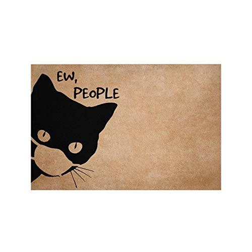 Ew People | Funny Black Cat Facemask Welcome Mat, Funny Cat Mat, Cat Lovers, Quarantine Doormat, Cat Doormat, Housewarming Gift