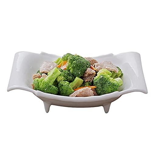 Ensaladera de cerámica, plato de sopa de hotel, plato de plato de forma especial, tazón de sopa, tazón de ensalada de frutas, tazón de fuente (10.5 pulgadas)