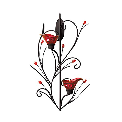 Candles Ruby Blossom TEALIGHT Wall Sconce Two Candle Light Red Glass Iron Lily Flower Deco Room