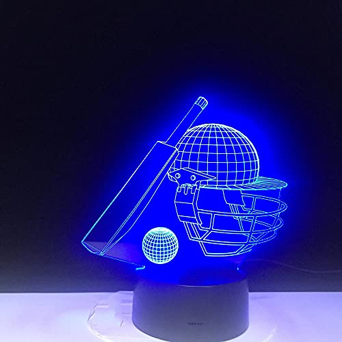 Led Night Light for Kids 3D Baseball Game Cap Table Lamp 7 Color Touch Or Remote Control Children's Room Decoration Gift