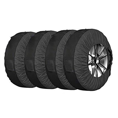 Juego de 4 fundas de almacenamiento de neumáticos de repuesto, color negro, a prueba de polvo, ajuste universal para SUV, neumáticos de camión con un diámetro de 22 a 30 pulgadas