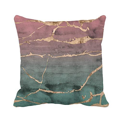 Throw Pillow Cover Diseño de mármol en rodajas con lámina metálica de oro rosa superpuesta en una mano rosada y verde Funda de almohada para decoración del hogar Funda de almohada cuadrada Funda de co