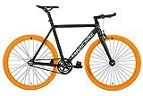 FabricBike Light - Bicicleta Fixed, Fixie, Single Speed, Cuadro y Horquilla Aluminio, Ruedas 28', 4 Colores, 3 Tallas, 9.45 kg aprox. (Light Black & Orange, S-50cm)