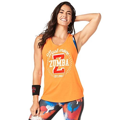 Zumba Fitness Damen Athletic Graphic Design Dance Workout Racerback Tank Top for Women Slim Fit Frauentops, Orange You Hot, Large
