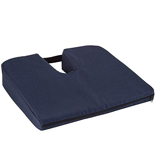 DMI Seat Cushion for Coccyx, Sciatica and Tailbone Pain to be Used on Dining Room Chairs, Desk Chairs, on car seats or as a Wheelchair Cushion, Machine Washable Cover, Foam, Navy, Gradual Slope