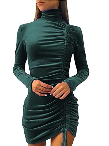 Beautmell Vestido ajustado de manga larga con cuello alto y cordón lateral para mujer, color sólido, sexy, estilo clubwear casual, verde oscuro, S