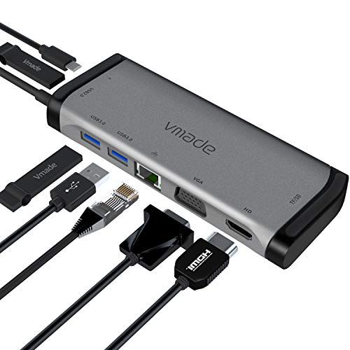 USB C Hub vmade Multiport Adapter - 9 in 1 Portable Space Aluminum Dongle with 4K HDMI Output, VGA,3 USB 3.0 Ports, SD/Micro SD Card Reader Compatible for MacBook Pro, XPS More Type C Devices