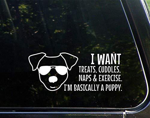 DKISEE - Adesivo impermeabile in vinile da 15,2 cm, con scritta 'I want treats, coccolle, pisolini ed esercizio; I'm Basically a Puppy!