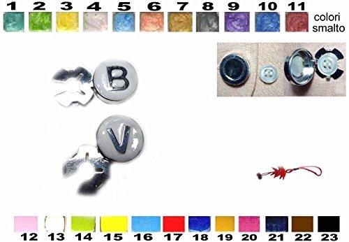 artesanal 1 par de cubrebotones de latón de 18 mm con las dos letras iniciales estampada en plata 925 escribe letras y color esmaltado cubrebotones joyas hombre de regalo llavero