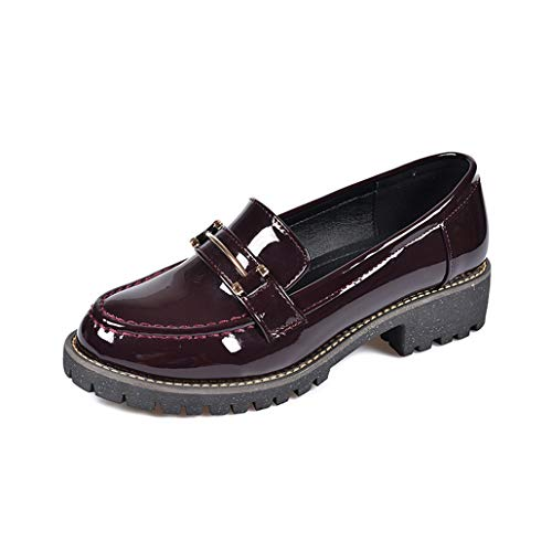GCOCO Women's Fashion Shiny Patent Leather Oxford Shoes Low Chunky Heel Slip-On Comfort Lady Oxfords Shoe Red Wine
