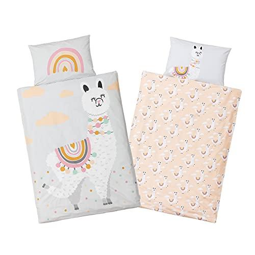 PEKENITO® Premium Collection: Baby Bettwäsche - Kinderbettwäsche 100 x 135 cm + Kissenbezug 40 x 60 cm – aus 100% Baumwolle im süßen Lama Design
