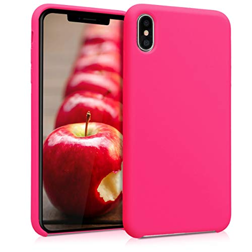 kwmobile Hülle kompatibel mit Apple iPhone XS Max - Handyhülle gummiert - Handy Hülle in Neon Pink