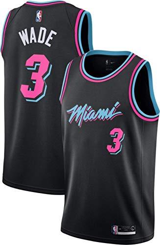 canottejerseyNBA Dwayne Wade, Basket Jersey Maglia Canotta Miami Heat #3, Nero City Edition, Un Nuovo Tessuto Ricamato, Stile di Abbigliamento Sportivo (L)